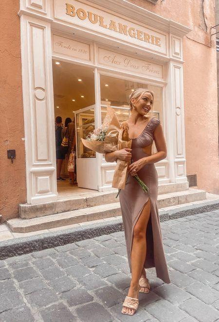 This dress is so flattering and it's only $8 right now RUNNN  #maxidress #parisianstyle #taupe #offshoulder #neutrals #neutraldress   #LTKeurope #LTKsalealert #LTKunder50