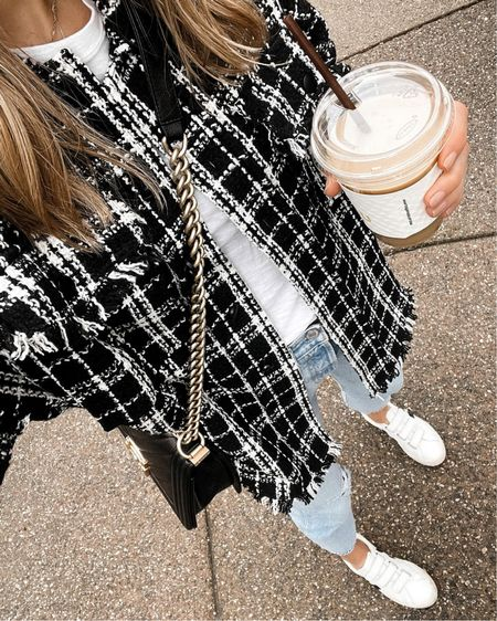 Love this black and white plaid shacket for fall with my Veja sneakers! Wearing a small for an oversized fit   http://liketk.it/3ol5w @liketoknow.it #liketkit   #LTKstyletip #LTKunder50 #LTKunder100