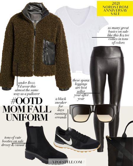 Nordstrom anniversary #ootd mom fall uniform idea. Coated Leggings and zip up jacket and a basic tee all part of the sale http://liketk.it/3jVW4 #liketkit @liketoknow.it #LTKunder50 #LTKunder100 #LTKsalealert