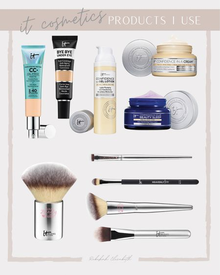 IT Cosmetics products I use and the makeup brushes are 40% off + select best sellers 20% off! | confidence in a cream moisturizer • anti aging concealer • confidence in a gel lotion • night cream • cc cream + SPF • foundation makeup brush • tapered shadow brush | #rebekahelizstyle   #LTKbeauty #LTKcurves #LTKunder50