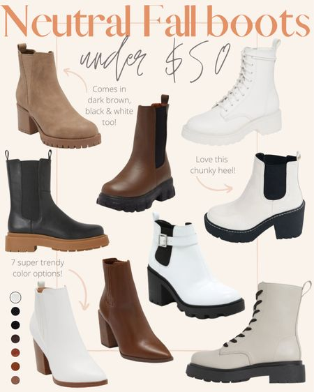Nine neutral fall boots that are under $50! Most of these are on sale right now so they're actually under $40. I love the chunky Chelsea boot style & a pointed toe boot to pair with sweaters & leggings.  #LTKSeasonal #LTKunder50 #LTKstyletip