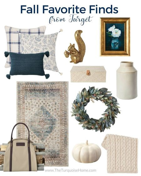 What's your favorite? Blue and neutral or green and rust? I've gathered some great Target home finds for fall! I have that cable knit pillow and it's the best pillow for fall and winter – love the new colors! And that gold squirrel couldn't get into my cart fast enough! It's all such a great way to bring fall into your home!   Items include Jacobean blue pillow, navy blue plaid throw pillow, navy pillow with tassels, gold squirrel, woven storage box, gold and navy framed wall canvas, carved ceramic vase, eucalyptus leaf wreath, cream ceramic pumpkin, cable knit throw blanket, fire wood log tote, Persian rug.   #LTKunder100 #LTKhome #LTKunder50