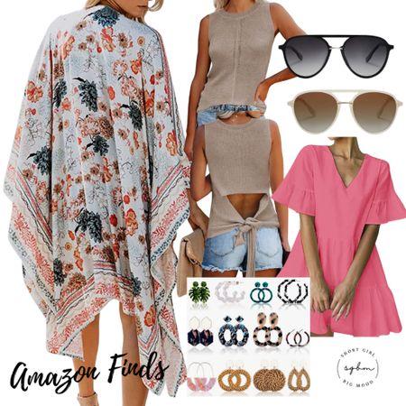 http://liketk.it/3hRzW #liketkit @liketoknow.it #LTKstyletip #LTKsalealert #LTKunder50 amazon finds; floral kimono, tie dye kimono, flutter sleeve tiered dress, pink dress, black dress, statement earrings, fashion earrings, aviators