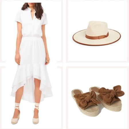 Affordable white midi dress with sleeves, tan timed hat, and tan bow slides. @liketoknow.it #liketkit #LTKunder50 #LTKunder100 http://liketk.it/3edvW