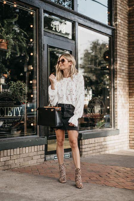 Long sleeve lace top with black denim skirt and leopard booties 🖤  #LTKSeasonal #LTKstyletip #LTKunder100