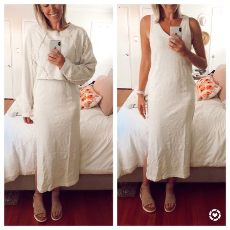 Free People matching set! Includes sleeveless v-neck midi dress and cropped sweatshirt. Runs TTS. Comes in five colors. White is not see through. http://liketk.it/2N2lI @liketoknow.it #liketkit #StayHomeWithLTK #LTKstyletip #LTKspring spring dresses, coordinates, white dress, casual, cozy, comfy