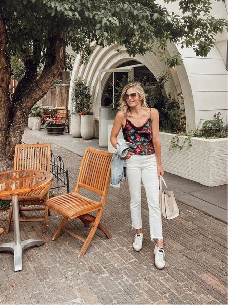 Prettiest cami and white jeans 🤍  #LTKSeasonal #LTKstyletip #LTKunder100