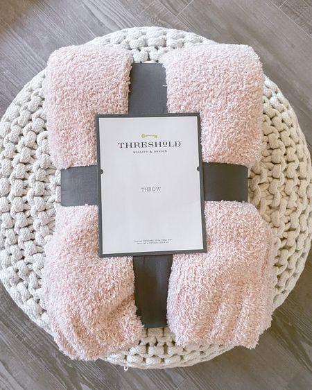 The coziest blush pink barefoot dreams dupe from target!   threshold, bedding, blanket  #LTKGiftGuide #LTKunder50 #LTKhome