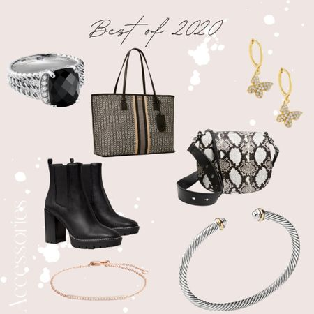 Some of my favorite accessories from 2020. 🤍 Tory Burch Gemini Link tote, David Yurman bracelet and ring, these adorable butterfly earrings. |jewelry, accessories, earrings, crossbody, AllSaints, pave bracelet, bracelet cuff, tote, handbag, Nordstrom|  #LTKNewYear #StayHomeWithLTK