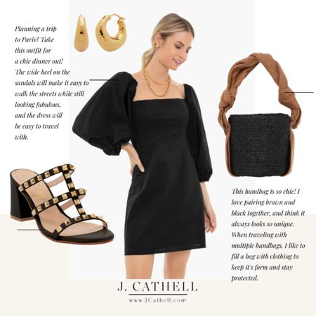 Puffed sleeve mini dress, studded sandals, gold hoop earrings, black handbag   Feeling French today, so I'm sharing a lovely little cocktail recipe on the next slide! If you're like me and can't make it to France at the moment- join me I'm sipping on one of these refreshing drinks!  Head over to the @shop.ltk app to see loads of a French inspired picks that you can shop.     #LTKshoecrush #LTKstyletip #LTKitbag