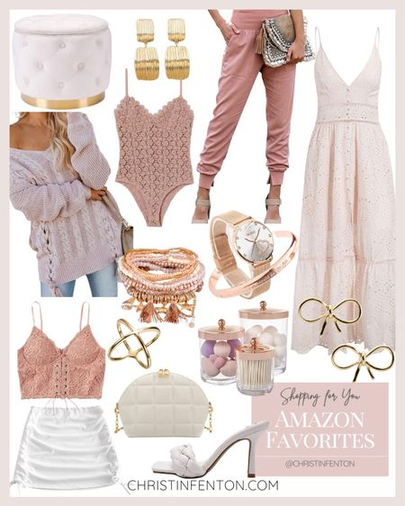 Amazon fashion favorites in pink & white 🎀 maxi dress, fall blush sweater, pink bodysuit, blush joggers, white velvet ottoman, pink lace Cami, white body ruched mini skirt, pretty dangle bracelets, gold bow earrings, white cross body bag, gold earrings, white high heels sandals, gold watch with gold bracelet 🤍 @shop.LTK #liketkit @liketoknow.it #LTKit #liketoknowit #LTKbeauty #LTKstyletip #LTKshoecrush #LTKcurves #LTKswim #LTKitbag #LTKsalealert #LTKfit #LTKunder50 #LTKunder100 #LTKstyletip #founditonamazon