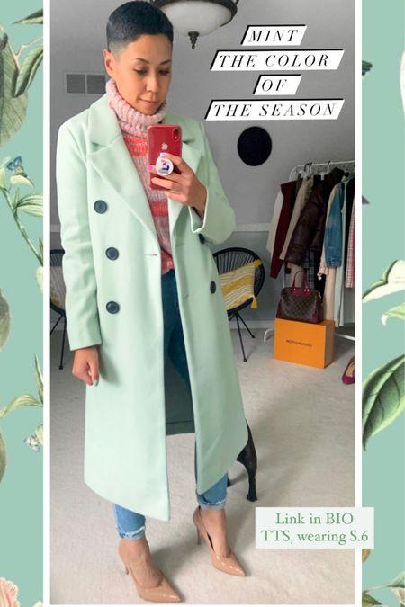 Mint coat Mint long coat Abercrombie mom jeans Nude pumps Asos finds Asos coat  http://liketk.it/2XVA4 #liketkit @liketoknow.it