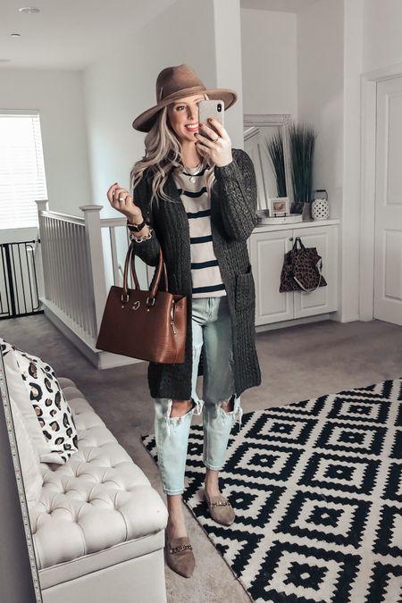 Olive knit cardigan, MENS striped tee and boyfriend jeans ❤️ the cutest casual Fall outfit! Small cardi M tee   http://liketk.it/2YrwD #liketkit @liketoknow.it #LTKsalealert #LTKunder50 #LTKstyletip