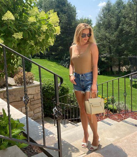 #cutoffjeans #cutoffshorts #bodysuit #summerlook #LTKSeasonal #denimshorts #summeroutfit   #LTKsalealert #LTKunder50