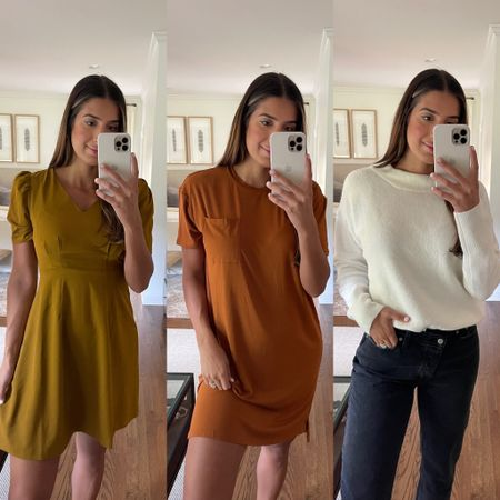 Workwear dresses and chunky knit sweater for fall from Amazon fashion. Wearing a medium and size 6!   #LTKSeasonal #LTKworkwear #LTKunder50
