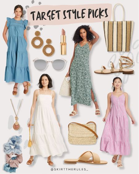 Target finds, Target fashion, summer style, summer dresses, beach vacation outfits: blue maxi dress, rattan earrings, pink lipstick, white sunglasses, green floral dress, slip dress, striped tote bag, studded sandals, pink striped dress, white dress, white maxi dress, pink maxi dress, scrunchies, straw bag, slide sandals. @liketoknow.it http://liketk.it/3iVTO #liketkit #LTKunder50 #LTKstyletip