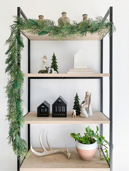 Neutral Christmas shelf decor inspo.   #LTKhome