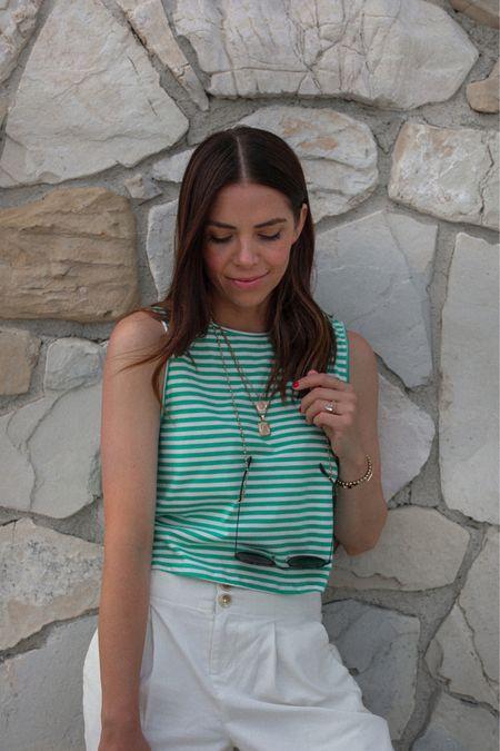 stripes, trousers & dainty jewels.  LTK Creator Shop:   🏷: http://liketk.it/3jkiF #liketkit @liketoknow.it