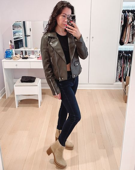 Olive faux leather jacket back in stock and under $100. Great gift for her or yourself.   #LTKGiftGuide #LTKSeasonal #LTKunder100