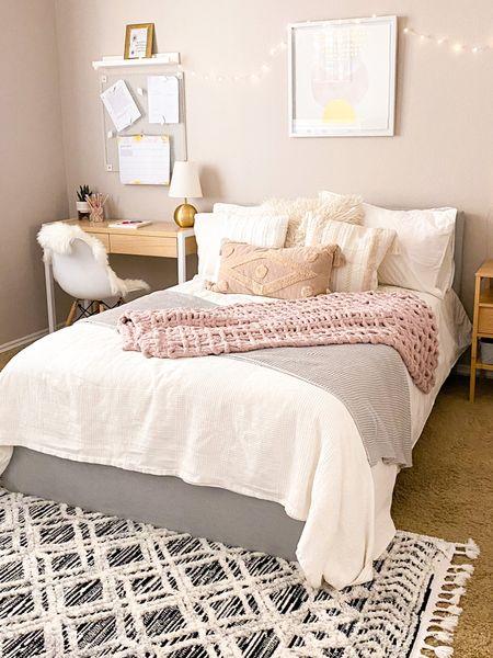 Teen boho bedroom with rug, neutral teen bedroom, grey and white teen bedroom   #LTKhome #LTKunder100
