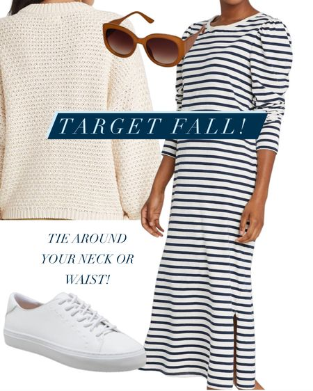 Target Fall Finds! #stripeddress #cableknit #sunglasses #targetfinds #target #targetdresses #targetshoes #fall #sweaters