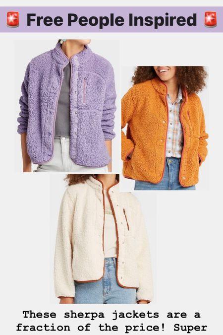 Free People inspired sherpa jackets! Super soft. 4 colors available!   #LTKSeasonal #LTKunder50 #LTKHoliday