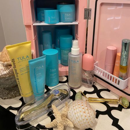 Self care Sunday 🌸 One of my favorite things I didn't know I would love so much is my Beauty Fridge🌸 So affordable under $30 and holds all the products I love and use daily!  The benefits of using cool products on your skin is amazing!  . I Truly use and love all the products listing and you can see how I use on my Instagram stories!  .under beauty highlights and #tula  . .  Shop my daily looks by following me on the LIKEtoKNOW.it shopping app Download the LIKEtoKNOW.it shopping app to shop this pic via screenshot http://liketk.it/3jsyo #liketkit @liketoknow.it #LTKunder50 #LTKbeauty #LTKstyletip