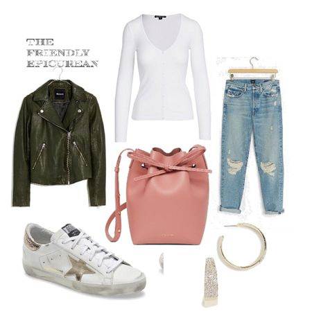Love this casual comfy chic look for fall! These classic pieces are great for mixing and matching. The leather moto jacket and distressed denim are must haves for fall!   #LTKstyletip #LTKitbag #LTKshoecrush