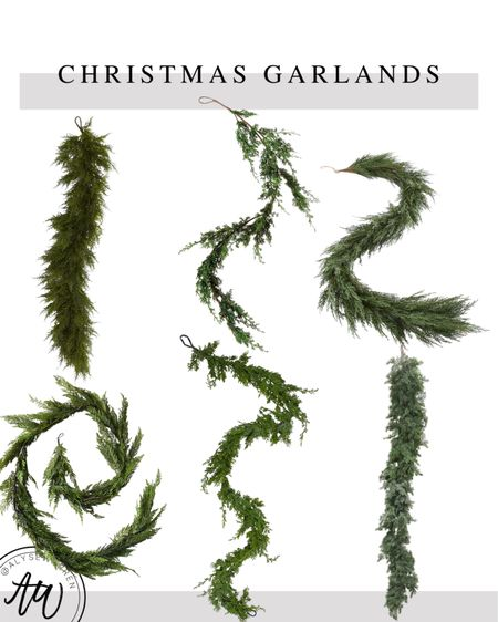 I have top right, and I love it! I bought more this year!   Christmas garlands, faux cedar garland, juniper garland, mantle decor, fireplace, home decor, living room, kitchen, console table decor, Amazon Home finds, Afloral, bedroom, kitchen, front porch  #LTKhome #LTKHoliday
