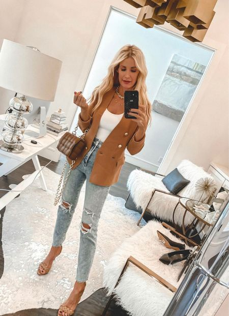 Because you can never go wrong with a simple blazer and a really good pair of jeans!   This blazer is made of knit material so it's crazy soft and I love the lux gold buttons! It comes in 3 colors and looks way more expensive than it really is. It runs tts, I'm wearing an XS.   PS - my bodysuit, jeans, and heels are each under $100!  Follow my shop on the @shop.LTK app to shop this post and get my exclusive app-only content!  #liketkit #LTKshoecrush #LTKunder100 #LTKstyletip @shop.ltk http://liketk.it/3nOfw