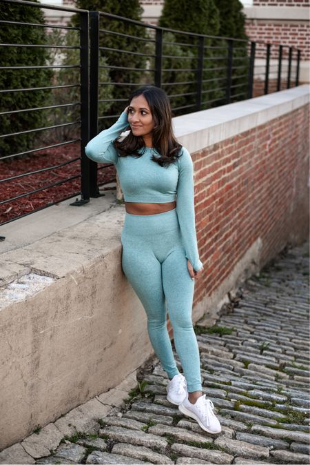Amazon fashion Workout outfit of the day! Obsessed with this light teal set for the spring! Wearing size small in the OYS Womens Yoga 2 Pieces Workout Outfits Seamless High Waist Leggings Sports Crop Top Running Clothes Sets!   #LTKSeasonal #LTKunder50 #LTKfit