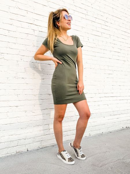 Fall dress    Affordable fall dresses // short sleeve dress // affordable fashion // affordable style // affordable clothes // target finds // ribbed dress // fitted dress // casual dress // body con dress // olive dress // green dress // olive green dress // dress sale // women's clothing // women's clothes // snake print sneakers // snake skin sneakers // affordable shoes // affordable sneakers // golden goose dupes // golden goose sneakers // golden goose lookalikes // fall sneakers // fall shoes // target shoes // target sneakers // quay sunglasses   #LTKfall  #LTKstyletip #LTKunder50 #LTKshoecrush