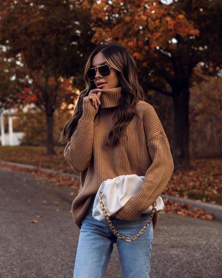 Walmart fashion / fall outfit ideas  Walmart camel chunky sweater wearing an XS Scoop faux suede boots  Pouch chain bag   #LTKsalealert #LTKunder50 #LTKunder100