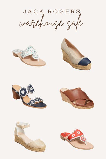 Jack Rogers warehouse sale. Jack's. Sandals. Wedges. Chanel inspired. Navy heel. Leather wedge. Gold shoes.  #LTKunder100 #LTKshoecrush #LTKsalealert