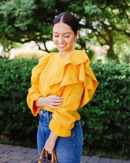 This fall sweater would be sooo cute to wear to a college football game. I went to Iowa State and am ready to cheer on my cyclones when I have this on!   LINK IN BIO TO SHOP. For reference, I'm wearing size XXS.   Tags: yellow sweater, fall sweater, Rachel Parcell, rach Parcell, myrpdress, fall outfits, fall family photos  #LTKSeasonal #LTKstyletip #LTKunder100