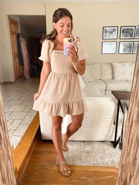 Cutest gauze khaki dress !! $30! Wearing size small!   #LTKshoecrush #LTKstyletip #LTKunder50