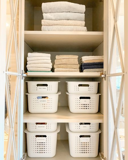 ✨ b a t h r o o m ✨  We decided to use decorative baskets in this space since the product would be visible. We didn't want to take away from all the beautiful details of this home! ✨  -  #TON #theorganizednest #organizationalservices http://liketk.it/35wUX #liketkit @liketoknow.it #StayHomeWithLTK #LTKhome #LTKfamily @liketoknow.it.home