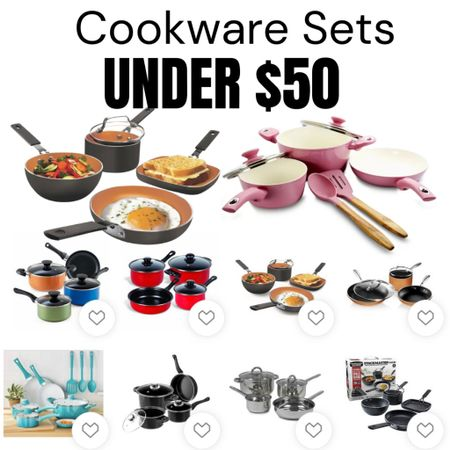 Cute and Colorful Cookware Sets under $50! Lots of styles. Stainless steel, ceramic, non stick, and more. http://liketk.it/3hP5L #liketkit @liketoknow.it #LTKunder50 #LTKsalealert #LTKhome