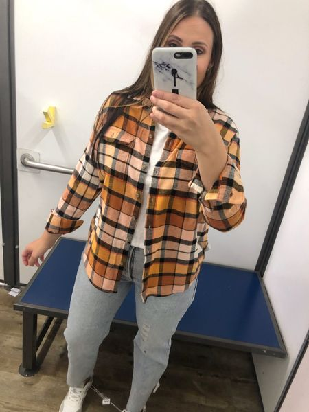 Fall items from Old Navy!  Fits true to size and I'm wearing a medium in this plaid button up shirt.  #falloutfit #oldnavy #affordablefashion #flannel #fall #casual   #LTKSeasonal #LTKcurves #LTKstyletip