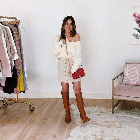 Fall sweater, mini skirt & boot combo http://liketk.it/2Fze7 #liketkit @liketoknow.it #LTKstyletip #LTKunder50