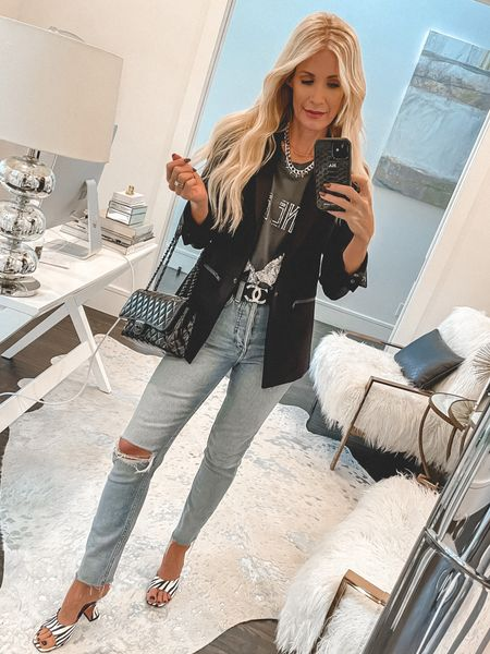 Always up for a chic graphic tee and a classic blazer. This blazer runs tts, I'm wearing a size 0.   #LTKSeasonal #LTKunder100 #LTKstyletip