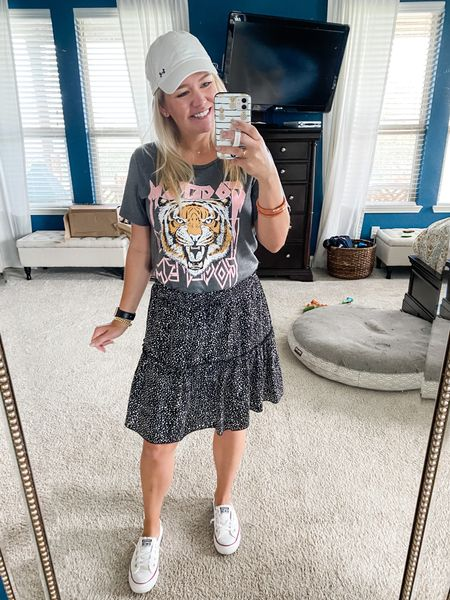 Get 'Em Tiger! 🐅 Give me a printed tee, flowy skirt, and sneaks any ole day! This shirt is under $20 and the skirt is only $23! Love this comfy combo    #LTKunder50 #LTKfit #LTKstyletip