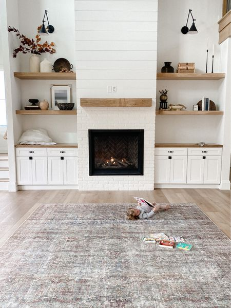 shelf styling, built ins, fireplace, McGee & co, target, amazon, budget decor, vintage rug, loloi  #LTKunder50 #LTKsalealert #LTKhome