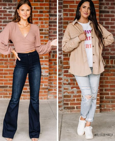 Casual day and night outfit ideas for mom. Fall fashion ideas fall style fall looks flare jeans boyfriend jeans shacket   #LTKunder100 #LTKSeasonal #LTKstyletip