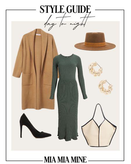 Fall outfit ideas  Mango camel cardigan coat  Express green sweater dress  Express pumps Work tote Lack of color wool hat   #LTKstyletip #LTKunder100 #LTKSeasonal
