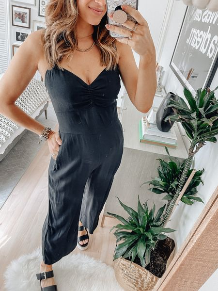 Jumpsuit, size small.   Abercrombie, black jumpsuit, summer sandals, summer outfits, bump style, beach vacation, vacation outfits   #LTKbump
