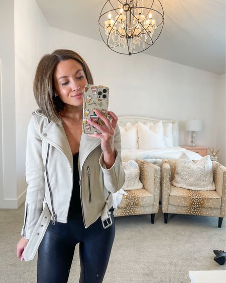 all saints leather jacket (0, normally xs) spanx faux leather leggings (sized up one to small petite)  #LTKsalealert #LTKstyletip