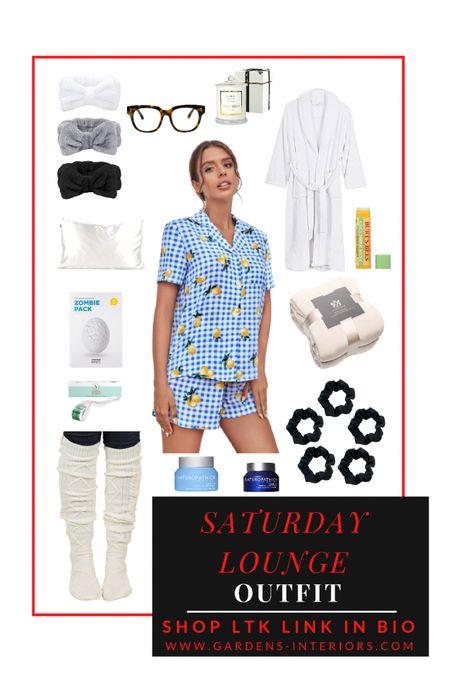 Saturday Longe   #pajamas #fleece #fleecerobe #robe #slippers #facemask #naturopathica #pumpkinpeel #silkpillowcase #throwblanket #blueblockingglasses #liptreatment  #LTKGiftGuide #LTKhome #LTKstyletip