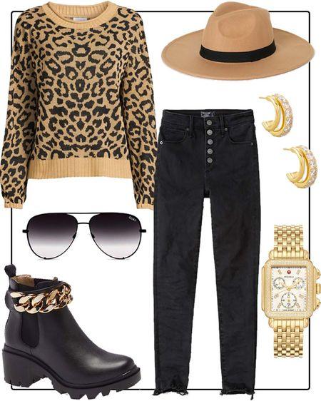 Outfit idea! Walmart leopard sweater, Abercrombie jeans on sale, Steve Madden boots   #LTKsalealert #LTKstyletip #LTKunder50