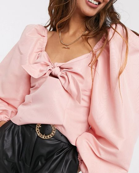 @liketoknow.it #liketkit http://liketk.it/3eZwN river island puff sleeve pink bow top